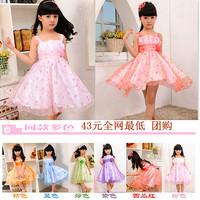 (CZ0311)Retail new 2014 summer girls dress princess children dress Dots Bow Dress for 3-7 years  Vest Dress