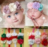 Bling Triple Soft Chiffon Pearl Diamond Flower On a Shimmer Headband 30PCS/LOT BY Angelababy Girls Headwear
