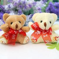 H-7cm silk tie-bow  teddy Bear,plush toy cartoon bouquet doll Flower Packing  30pcs/lot