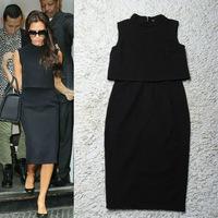 Women's New Fashion Mid-Calf False Two Piece OL Dress Back of Zipper Sleeveless Novelty Black Celebrity Victoria Beckham Dress