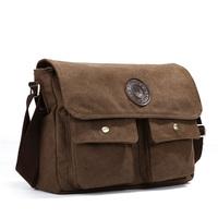 Free shipping Canvas bag male fashion  messenger b school bag multi-pocket horizontal man bag