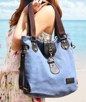 2014 Free shipping Canvas women's shoulder bag  messenger bags canvas hanadbag the trend women's handbag blue casual big bag