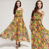 Maxi Dresses Long Chiffon Sundresses 2014 Fashion Women Summer Spring Clothing Female/Girl Flower Print Boheminan/Beach Dress XL