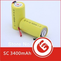 200pcs High Quality New Wholesale Sub C Batteries SubC 3400mAh Ni-Cd Rechargeable Battery Tab Yellow