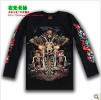 new 2014 motorcycle knight print t shirt noctilucence skull t shirts hip hop t-shirt big size 3d t shirt men
