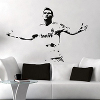 Free Shipping High quality Carved(not print) wall decor decals home stickers art PVC vinyl FOOTBALL  Cristiano Ronaldo Z-74