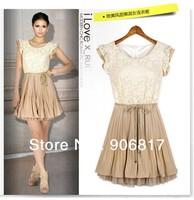 2014 Summer Fashion Women Dress Sleeveless Patchwork Lace Casual Chiffon One Piece Dress + Free Shipping