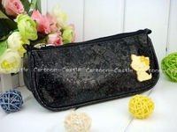 Sale! Hello Kitty Makeup Bag PU Leather Long Coin Purse Wallet Pencil Bag Black Free Shipping