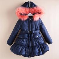 Children's clothing coat winter baby girl outerwear 2014 thickening fur collar hood princess long jacket kids down & parkas