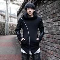 Autumn men hoodies zipper leather sleeve patchwork slim cardigan sweatshirt with hood plus size men outerwear male spring coat
