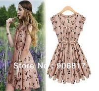 2014 New Fashion Women Elk Pattern Slim Waist Dress Girls Sleeveless Casual Chiffon One Piece Dress + Free Shipping