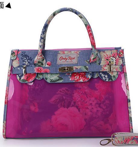 new fashion women's handbag flower print canvas PVC clear Sweet Jelly Clear transparent Handbag Tote Shoulder Bags free shipping(China (Mainland))