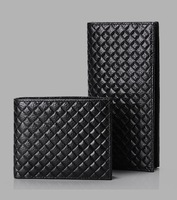 Men's leather wallet long section of braided leather wallet first layer of ultra-thin wallet