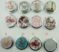 Fashion 12 designs Retro Antique Bronze Round Portable Makeup Mirror  Cosmetic Flower Folding Vanity Mirror
