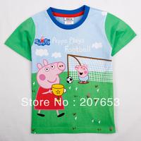 2014 NEW Free shipping 5pcs/lot  children clothes boy summer t-shirt boy 100%cotton cartoon printing  tops boy peppa pig t-shirt