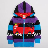 high quality NEW Free shipping 5pcs/lot children clothing boy outerwear boy stripe jacket boy zipper  coat with car  1-6years