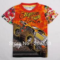 NEW Free shipping 5pcs/lot  children clothes boy summer t-shirt boy 100%cotton cartoon printing  tops boys cool tees
