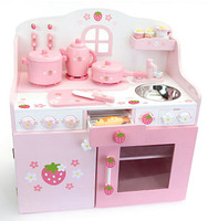 Mother garden Strawberry Super Luxury The princess Kitchen set Fine wooden toys,pretend toys