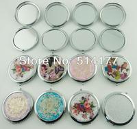 Free shipping Retro Fashion 12 designs  Round Portable Makeup Mirror Cosmetic Flower Folding Vanity Mirror