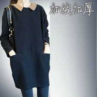 Autumn fashion loose peter pan collar plus size black long-sleeve autumn and winter basic plus velvet thickening one-piece dress