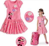 IN STOCK ! Summer Children Cartoon Cartoon dress Girl short-sleeve Cartoon Minnie Dress Girl baby dress size 80-120
