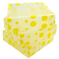 Multi-function PP covered storage box sorting box 3 in 1 yellow circle