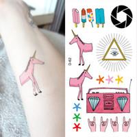 Temporary Tattoo stickers W78 pink pinky half-length unicorn personalized  waterproof  body art