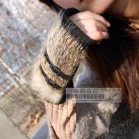 Rabbit fur semi-finger pigskin gloves genuine leather rabbit fur gloves beauty fashion non-mainstream real fur gloves