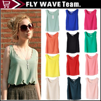 Exclusive! 15 Colors,S,M,L! 2014 New Hot Sale Women Large size waves halter top, sleeveless Chiffon Shirt, Loose Blouse, NZS083