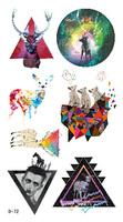 Temporary Tattoo stickers Fashion w104 HARAJUKU diamond magic colorful elk moon tattoo  body art