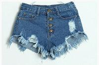 new retro hole blue euro us stylish jeans shorts for women female thin pants pantalones de mujeres free shipping