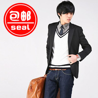 2013 suit preppy style men's slim blazer casual outerwear male