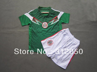 Youth Kids baby children's soccer uniforms football kits mexico 2014 new WC home green jersey and shorts 2-12 ages