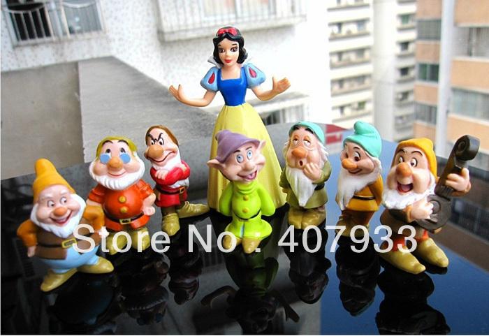 Dwarfs Snow white 1Set 1Set=8pcs Seven Dwarfs figures Snow white Figures PVC Doll toys(China (Mainland))