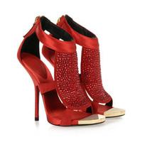 New fashion ladies sexy rhinestone ankle boot sandals summer designer women high heels peep toe wedding shoes for woman