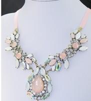 Min order is $10(mix order)Fashion sparkling rhinestone drop tea big gem necklace long clothes crystal pendant necklaces