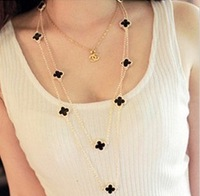 Min order is $10(mix order)double faced resin lucky four leaf clover long necklace Women necklace fashion jewellwey