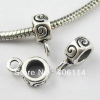100Pcs Tibetan Silver 4.8mm Hole Charms Bail Beads Fit Bracelets Craft DIY 8x12mm