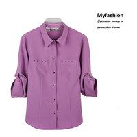 free shipping 2013 autumn women's fashion three quarter sleeve shirt plus size clothing top outerwear