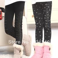 Children's clothing female winter child 2013 100%  cotton thermal thickening plus velvet leggings child boot cut legging
