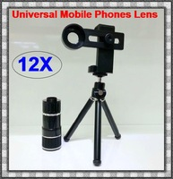 DHL 12X Magnification Universal Mobile Phone Zoom Telescope Magnifier Optical Camera Lens For iPhone Samsung HTC Nokia Wholesale