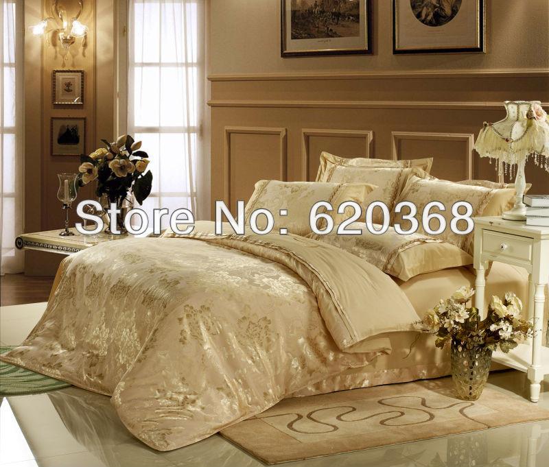Luxo cama Jacquard 4pcs fios tingidos define colchas colchas abrange os conjuntos / set capa de edredão / cama de folhas de cama king bed(China (Mainland))
