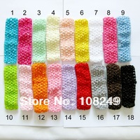 Free Shipping 100pcs/lot High Quality 4x15cm Newborn Infant Baby Toddler Crochet Headband Hair Bow Mixed Colors