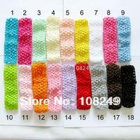 Free Shipping 100pcs/lot High Quality 4x15cm Newborn Infant Baby Toddler Crochet Headband Hair Bow Mixed Colors