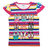 2014 new wholesale Free shipping 5pcs/lot  children clothing girls short sleeve  t-shirt  girls cotton stripe t-shirt  1-6years