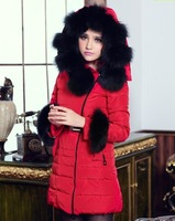 High quality fox fur winter 2012 thickening with a slim medium-long hood down coat