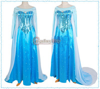Free Shipping Customized Movie Cosplay Costume Princess Elsa Dress in Frozen for Adult