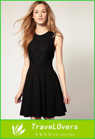 Free Shipping Europe Popular Style Hollow out Back and Lace Elegant Women Dress for Lady TSP100