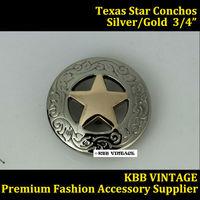 10pc 3/4'' Western Concho Screwback Texas Star Saddle Concho Silver/Gold