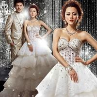 White Luxurious Diamond Lace Bridal Wedding Dresses Floor-Length Lace Up Strapless Brides Wedding Dress 2014 Train Wedding Gown